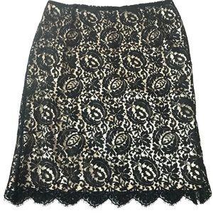 Talbots Black Lace Gold Pencil Skirt Sz 16 EUC